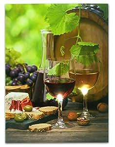 Wine Vin Tableau décor mural avec éclairage LED-Toile imprimée-Verres à vin et de vin présentée avec des raisins, fromage, Pain, fruits à coque et Olives - 16 x 12 cm