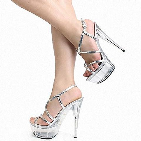 L@YC Femmes Chaussures à Talons Hauts Paillettes Vitrines 20 Cm Pole Dance TempéRament Danse Sandales , white , 41