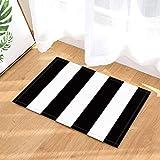 guojishu Schöne schwarz-weiß gestreifte Badteppich Rutschfeste Boden Eingang Outdoor-Haustürmatte, 40x60cm Badmatte Badteppich