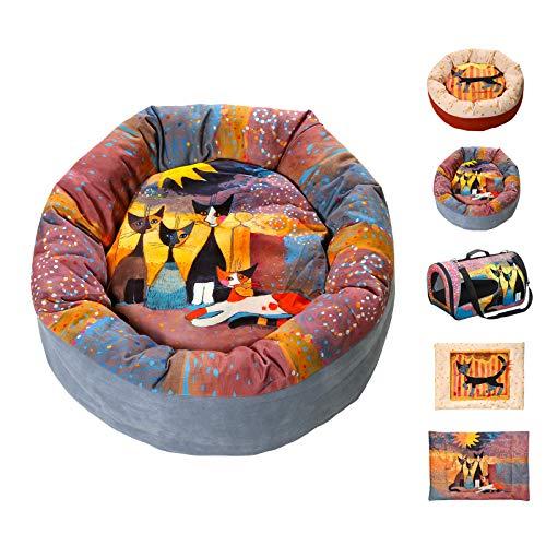 Quantio Rosina WACHTMEISTER - Katzenbett, Wendedecke oder Transporttasche - für Katze oder Hund, Ausführung:Katzenbett IN Front of HER Estate