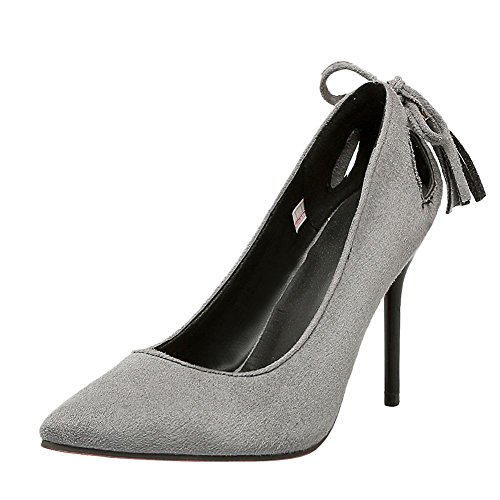 Mee Shoes Damen mit Quaste Stiletto Nubuck Pumps Grau