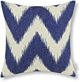 Euphoria CaliTime Home Decor Throw Pillow Cover Cotton Linen Blend Fantasy Ikat Zigzag 45cm X 45cm Navy Blue