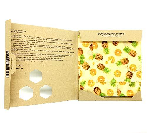 SuperBee Envoltorio de cera de abeja | Set de 3 tamaños: Pequeño,...