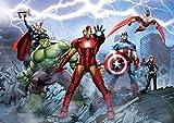 Avengers Poster Papier Peint - Iron Man, Captain America, Hulk Et Héros, Ruines, 4 Parties (360 x 254 cm)