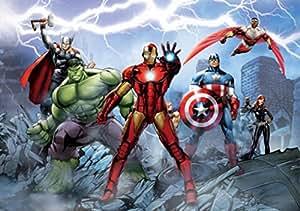 Avengers Papier Peint Photo/Poster - Iron Man, Captain America, Hulk Et Héros, Ruines, 4 Parties (360 x 254 cm)