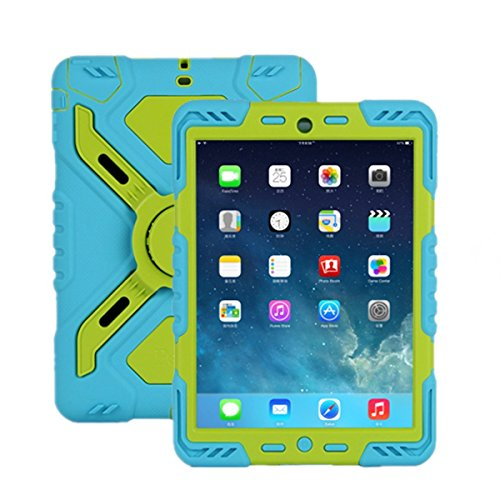 Spider Mini Case Ipad (Pepk iPad mini Silicone Plastic Protective Dual Layer Shock Absorbing Kid-Proof Case Built in Stand Designed for the Apple iPad mini 1/2/3 blue/green)