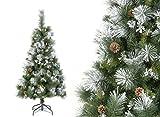 Árbol de Navidad artificial VERDE Nevado con copos de nieve BLANCOS y piñones de pino - Altura 1m80 - 609 Ramas