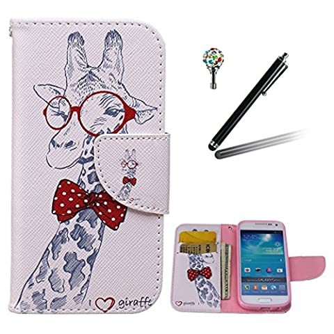 Samsung Galaxy S4 mini Case,Yaking (3 in 1 Set) PU Leather Stand Flip Cover Wallet Phone Case for Samsung Galaxy S4 mini mit 1 x Touchpen and 1 x Bling Glitter Dust