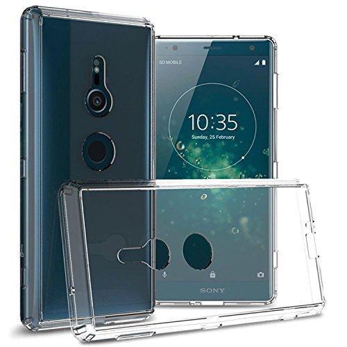 Alle Metro Pcs Handys (Sony Xperia XZ2Fall, coveron [Clearguard Serie] Slim Fit Handy Abdeckung mit Transparent Hartschale und TPU Stoßstangen für Sony Xperia XZ2, Farblos)