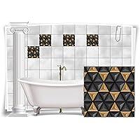 Fliesenaufkleber Fliesenbild Fliesen Aufkleber Mosaik Braun Kachel Bad WC  Küche Deko Kachel Badezimmer, 12 Stück
