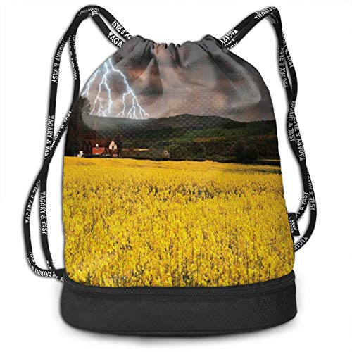 Multipurpose Drawstring Bag for Men & Women, Thunderstorm Over The Meadow Valley with Scary Dark Sky Rural Farm Scenery,Tote Sack Large Storage Sackpack for Gym Travel Hiking -