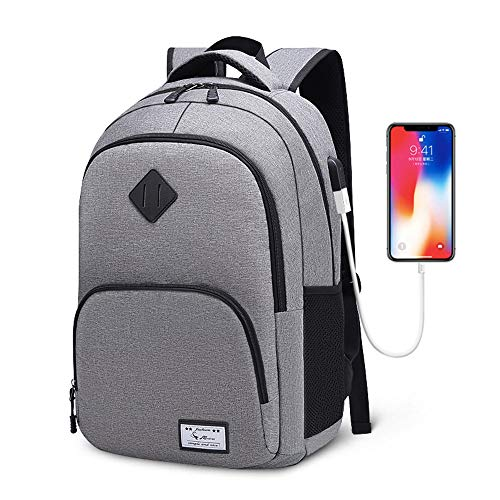 FPTB Schüler Rucksack Reisetasche Doppel Schulter, USB Ladeanschluss Wasserdicht Daypack Passt 15,6 Zoll Computer Notebook, Oxford Tuch,