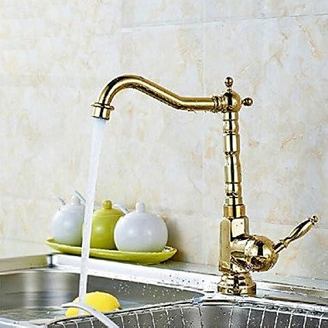 Cucina Rubinetti lavello rubinetto in ottone in stile europeo 1foro 2mani cucina pvd rubinetto per rubinetto miscelatore