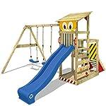 WICKEY Spielturm Smart Coast Kletterturm Spielhaus auf Podest mit Doppelschaukel und Rutsche, großem Sandkasten und Kletterleiter 7