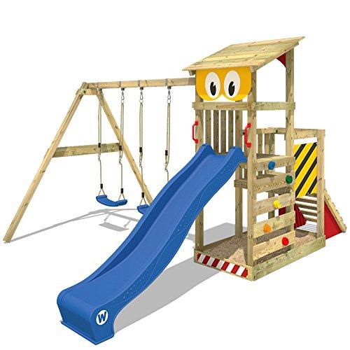 WICKEY Spielturm Smart Scoop Kletterturm Klettergerüst mit Rutsche, doppelter Schaukel, Kletterwand und Sandkasten, blaue Rutsche + gelb-rote Plane (Rutsche Für Schaukel)