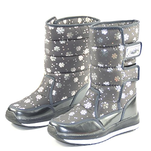 QPYC scarpe da donna In tubo stivali Cerniera laterale impermeabile da sci Scarpe di cotone Velcro Mantenere caldo Stivali da neve antiscivolo Alpinismo a piedi turismo gray