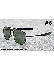 Mode Armee-Milit?r AO Pilot 54mm Sonnenbrille Marke American Optical Glas-Objektiv-Gl?ser Oculos De Sol Masculino
