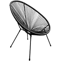 Marko Outdoor String Moon Chairs & 50cm Round Glass Table Steel Tube Frame Legs Indoor Outdoor (Single Chair - Black)