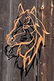 Edelrost Wandbild Shilouette Pferdekopf 52x28cm Garten Wandschmuck Rost Deko Pferde