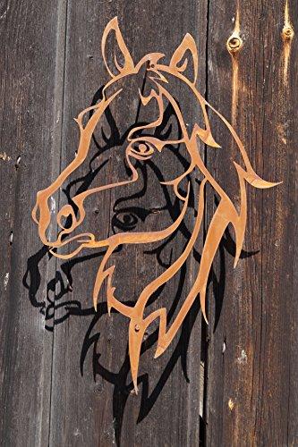 Edelrost Wandbild Shilouette Pferdekopf 52x28cm Garten Wandschmuck Rost Deko Pferde (Pferd Fliese Wandbild)