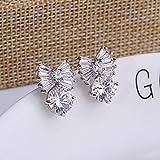 Hypoallergenic Fashion Trend Bow Tie Zircon Earrings Jewelry Fashion Small Earrings S925 Silver Needle Jewelry , platinum