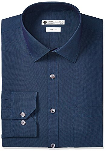 Symbol Amazon Brand Men's Regular Fit Cotton Formal Shirt (AW17MFS30_42_Navy)