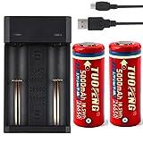 TUOFENG Batteria 26650 con caricabatterie rapido USB Batteria agli ioni di litio da 3.7 V 5000 mAh Batterie ricaricabili TUOFENG (batteria da 2 pacchi)