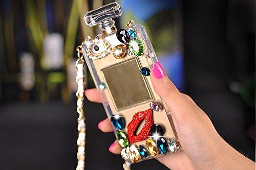 Pour Coque iPhone 6/6s , iNenk® Manchon protection bouteilles téléphone Shell accessoires Mous strass transparente TPU Mode luxe diamant perle rouge lèvre Housse étui parfum-Noir Transparent