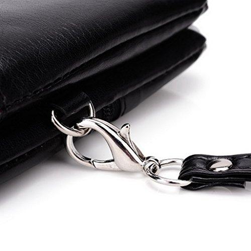 Kroo Pochette Portefeuille en Cuir de Femme avec Bracelet Étui pour Vivo–Platinum Edition noir - Black and Blue noir - Noir/gris