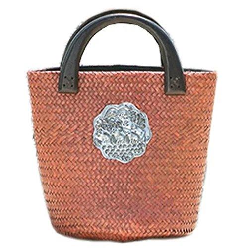 ricamo a mano maglia / tessere borsa di bambù rattan paglia / borse a mano/borse a spalla marrone