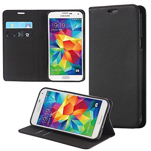 ECENCE Handyhülle Schutzhülle Case Cover kompatibel für Samsung Galaxy S5 i9600 S5 Neo S5 Plus Handytasche Schwarz 31020106