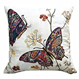 """Embroidered Butterfly Cushion Covers Decorative PillowCase18"""" x 18"""" (CREAM)"""