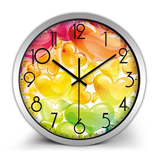 Horloges Montres Balayage Secondes Metallic Murale Quartz Quartz et muet Silencieux Convient pour Chambre à Coucher et Salon (Color : Orange-A, Size : 40.5cm(16inch))