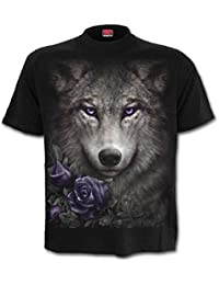 Spiral Women - Wolf Roses - Front Print T-Shirt Black