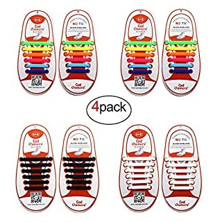 Oumers 4 Pairs No Tie Shoelaces for Kids, Lazy Tieless Silicone Shoelaces Rubber Sneaker Shoelaces(1 pair Black + 1 pair White + 2 pairs Multicolor)