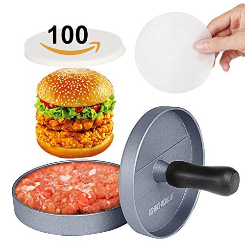 GWHOLE Antihaft-Burgerpresse Aluminium Hamburger Patty Maker mit 100 Wax Blättchen für BBQ Grill Hamburger Patty Mold