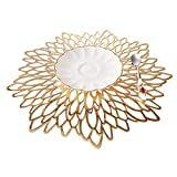 EQI Tischset Rund Gold, Platzset Rund für Hochzeit, Geburtstag, Weihnachten, Rutschfest, Durchmesser 38CM (Gold,6)