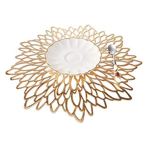 EQI Tischset Rund Gold, Platzset Rund für Hochzeit, Geburtstag, Weihnachten, Rutschfest, Durchmesser 38CM (Gold,6) -