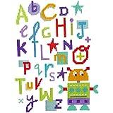 The Stitching Shed - Kit de punto de cruz, diseño de letras del abecedario y robot