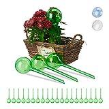 Relaxdays Bewässerungskugeln, 24er Set, Dosierte Bewässerung, 2 Wochen, Topfpflanzen, Kunststoff, grün