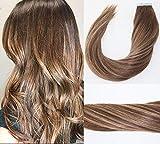 20pcs 50g balayage Ombre Extensions de cheveux Bande sombre Marron avec Caramel Blond méché ruban adhésif en Extensions de cheveux épais Remy Extensions de cheveux humains