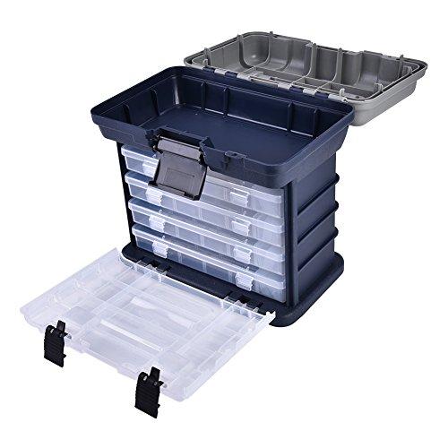 GOTOTOP Angeln Koffer 4 Schicht Angelgerät Box Kunststoffgriff Angeln Box Karpfenfischen Werkzeuge