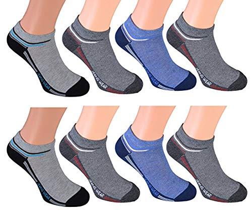cocain 8 Paar Sneaker Socken in verschiedenen Ausführungen für modebewusste Herren Markenware halbe Socken perfekte Passform atmungsaktiv und feuchtigkeitsregulierend durch hohen Baumwollantei (Männer Graue Söckchen)