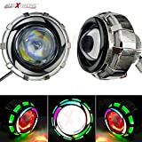 #5: Allextreme Projector Lamp Led Headlight For Royal Enfield Motorcycle Projector Lamp With High/Low Beam And Flasher Function Stylish Dual Angel'S Eye Ring Cob Led Lens Projector For All Bikes And Cars- Green And Rainbow Colour Angel Eyes And Red Devil Eye