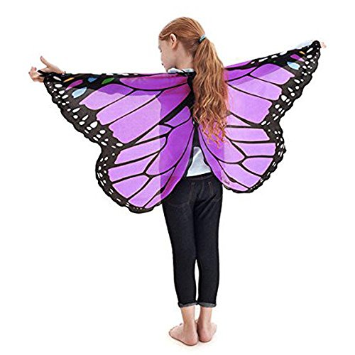 (️schmetterling kostüm, Sunday Kinder Jungen Mädchen Böhmischen Schmetterling Print Schal Kostüm Zubehör Weiches Gewebe Schmetterlingsflügel Schal Fee Damen Nymph Pixie Kostüm Zubehör für Show / Daily / Party (118 * 48cm, Lila))