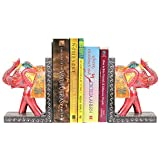 APKAMART Handcrafted Elephant Bookend - Set of 2 - Book Holders cum Decoratives for Shelves, Table Decor, Home Decor and Gifts