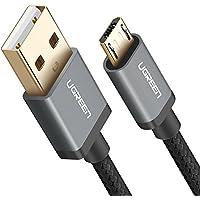 UGREEN Câble Micro USB Charge Rapide et Sync 2,4A en Nylon Tressé pour Samsung Galaxy S7 S6 Edge J3 J5 J7 A3 A5 A7 2016, Huawei P10 Lite P9 Lite, Wiko Smartphones, Manette PS4, Tablette (1M, Noir)