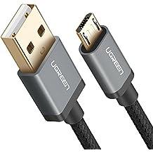 Cable USB 2.0 a Micro USB, UGREEN Micro USB Cable Nylon Trenzado Rápido Cargador para Xiaomi, Huawei, HTC, Elephone, Oneplus, Nota 5 / 4 / 3, LG, Nexus, Nokia, PS4,Tablets, E-lectores y etc. (0.5m, Negro)