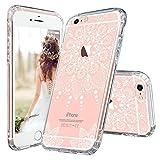 MOSNOVO iPhone 6 Hülle, iPhone 6s Hülle, Weiß Henna Mandala Blumen Klar Muster TPU Bumper Rahmen mit Hart Plastik Transparent Durchsichtige Schutzhülle für Apple iPhone 6 (4,7 Zoll), iPhone 6 Case