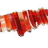 Natürlicher roter Onyx-Kristall zeigt unregelmäßiges flaches Streifen-Streifen-lose Stock-Korn-Edelstein-Edelstein für die Schmucksache-Herstellung, die heilenden Kristall poliert / rohe Quarz-Spitze gebohrt